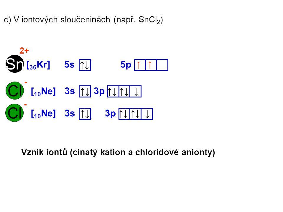 Sn Cl Cl [36Kr] 5s ↑↓ 5p [10Ne] 3s ↑↓ 3p ↑↓ ↑↓ ↓ [10Ne] 3s ↑↓